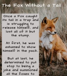Short story, short stories with moral, shortest stories with moral, short stories for kids, the fox without a tail, Inspiring short stories with moral lessons