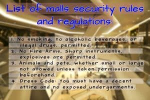 Shopping rules, regulations of malls, Shopping malls